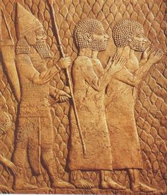 Israelite being lead into captivity by Assyrians.