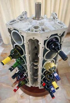 Old Car Parts Upcycled Projects - DIY Wine Rack from V-12 Engine Block - DIY Projects & Crafts by DIY JOY at http://diyjoy.com/upcycling-diy-projects-car-parts