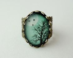 CIJ SALE Aqua Turquoise Winter Tree Filigree by WearitoutJewelz, $15.00