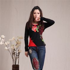 Gorgeous Flower Embroidery Oriental Style Shirt - Black - Chinese Shirts & Blouses - Women