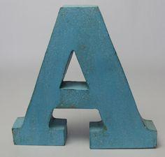 Decoratie letter A aqua te koop via http://www.delaatstepuntjes.nl/index.php?route=product/product&path=37&product_id=197