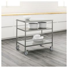 Stainless Steel Kitchen Cart With Breakfast Bar