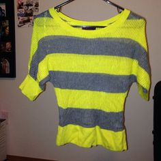 Striped meshed top Yellow and grey meshed top :) takeout Tops