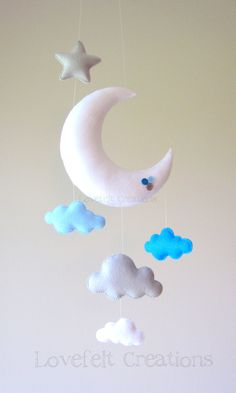 READY TO SHIP Baby mobile Moon mobile Cloud by LoveFeltXoXo, $75.00