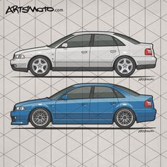 Audi A4 B5 Quattros – Side view of an german made Audi A4 (B5 Typ 8D) sedan The A4 was built from 1994–2001 #Audi #CarArt #CarTShirt +++ Artsmoto.com