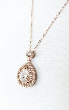 Rose Gold Deluxe Cubic Zirconia Teardrop necklace, Halo style crystal necklace, Rose Gold brides bridesmaid necklace, brides wedding jewelry, www.colormemissy.com