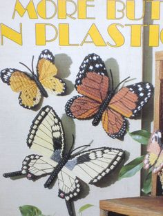 More Butterflies in Plastic Canvas Leaflet Leisure Arts Wind Sock Various Sizes #leasurearts