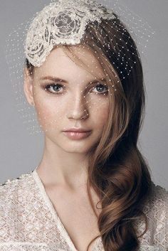 Lace beaded bridal cap head piece with hand made by beretkah