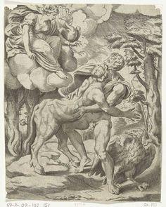 Μορφές και Θέματα της Αρχαίας Ελληνικής Μυθολογίας-Δίας, Ιώ, Ήρα. Cornelis Bos, Michiel Coxie (I), (1537-1555). Ο Δίας σμίγει με την Ιώ που μεταμορφώνεται σε αγελάδα. Από ψηλά παρακολουθεί η Ήρα. Δίπλα της το παγώνι που στο φτέρωμά του κρύβονται τα μάτια του Άργου. Άμστερνταμ, Rijksmuseum, RP-P-OB-102.151