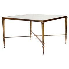 Vintage Square Brass and Mirror Coffee Table