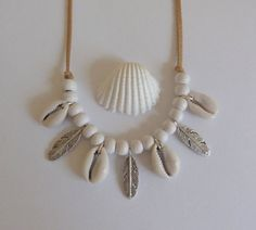 bohemian jewelry, cowrie shell necklace, feather necklace, gypsy necklace, bohemian necklace, beachcomber boho necklace