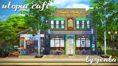 The dream of the '90s is alive at Utopia Cafe, where Sims of all shapes, sizes, colors, and aspirations can unite in their love of coffee, cannoli, and free, fast internet. I built this lot for my...
