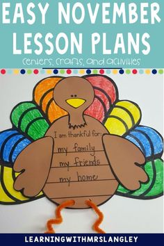 What are you going to teach in your kindergarten or preschool classroom those few days before Thanksgiving break? This product includes enough Veteran's Day and Thanksgiving activities to plan all the way up to break with fun, engaging, and standards aligned activities and lesson plans. Includes crafts, book connections, reading, social studies, and writing activities.
