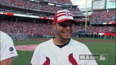 Yadier Molina at the MLB All Star game in Cincinnati.