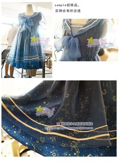 [Has single] Sailor original paternity line navy organza dress embroidered collar English - Taobao