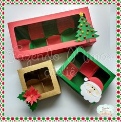 Caixas para 10 doces gourmet para o Natal - Artesanato - Stock Box, Card Stock, Homemade Gifts, Diy Gifts, Chocolate Navidad, Christmas Diy, Christmas Decorations, Diy Gift Box, Country Crafts