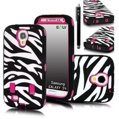 E-LV Deluxe Zebra Print Hard Soft High Impact Hybrid Armor Defender Case Combo for Samsung Galaxy S4 i9500 with 1 Clear Screen Protector, 1 Black Stylus and E-LV Microfiber Sticker Digital Cleaner (Hot Pink, Samsung Galaxy S4) (852664511527) This case has a soft silicon inner skin and a hard plastic outer shell Made from durable high quality plastic that provides your Phone with maximum protection Lay On The Table Design provides lip protection of display screen when faced down Provides full…