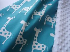 Baby Quilt 34 X 43  Turquoise Giraffe  Blanket  by ThePillowCo, $58.00