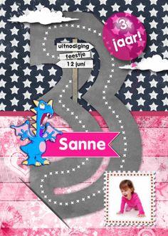 hippe uitnodigingskaart voor trendy meiden . Je kan de tekst en foto helemaal naar wens aanpassen en deze leuke kaart nog hipper maken ;-)