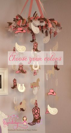 Cowgirl mobile, pink brown tan white burlap and lace mobile or you can CHOOSE YOUR COLORS! nursery mobile, paper mobile playroom mobile
