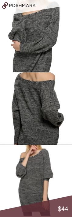 GRAY OFF THE SHOULDER KNITTED TUNIC Beautiful and sexy gray loose fitting knit Tunic adds a bit of edge just off he shoulder. Wear it solo or pair with your favorite jeggings and boots. Hangs beautifully. Size Large Sweaters Crew & Scoop Necks