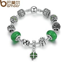 buy on wallmart.win BAMOER Silver Charm Bracelet Green European Glass Beads Clover Pendant Bracelets for Women Jewelry PA1487