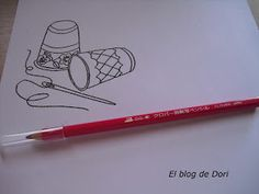El blog de Dori: Lápiz transfer. Redwork Red Green, Embroidery Patterns, Cross Stitch, Quilts, Sewing, Blog, Felt, Scrappy Quilts, Tutorials