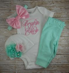 hospital outfit, baby girl, pink, mint, bodysuit, pants, hat, headband, bring home, take home, outfit, gift, photo prop, custom, monogram by LittleQTCouture on Etsy https://www.etsy.com/listing/246661222/hospital-outfit-baby-girl-pink-mint