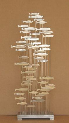 Abstract Metal Fish Sculpture Mid Century Modern Jere Sty US Artist