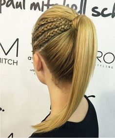 High Ponytail with Braids.