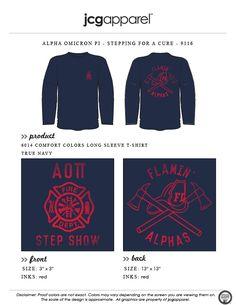JCG Apparel : Custom Printed Apparel : Alpha Omicron Pi Stepping for a Cure T-Shirt #alphaomicronpi #aopi #stepping #stepshow #fireman #hot