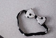 80s polkadot black and white neck bow tie mens formal wear vintage clothing accessories adjustable prom wedding gifts for him by furhatguild on Etsy