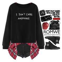 """""""Romwe Print Black Sweatshirt"""" by emilypondng ❤ liked on Polyvore featuring Converse, Pier 1 Imports, Liis Japan, Ann Demeulemeester, Casetify, romwe and melsunicorns"""