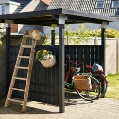 Plus Rustik hegn sort cm ¤ Shed Building Plans, Diy Shed Plans, Outdoor Bike Storage, Bike Shelter, Bike Shed, Outdoor Projects, Building Design, Outdoor Living, Home And Garden