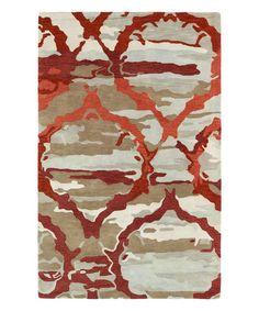 Red Camo Arabesque Wool Rug #zulily #zulilyfinds