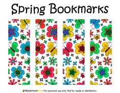 Free printable spring bookmarks. Download the PDF template at http://bookmarkbee.com/bookmark/spring/