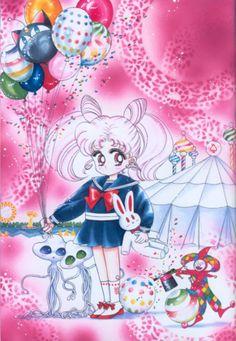 ChibiUsa (Title Page from the May, 1993 Issue of Nakayoshi); from Bishoujo Senshi Sailor Moon Original Picture Collection, Vol. Sailor Chibi Moon, Sailor Mars, Sailor Moon Crystal, Sailor Scouts, Manga Illustration, Illustrations, Chiba, Kawaii, Sailer Moon