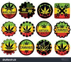 cannabis marijuana leaf symbol jamaican style sticker