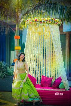New Bridal Lehenga Yellow Mehndi Outfit Ideas Desi Wedding Decor, Wedding Stage Decorations, Wedding Mandap, Wedding Mehndi, Wedding Receptions, Indian Wedding Outfits, Bridal Outfits, Mehendi Outfits, Wedding Event Planner