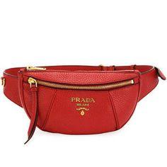 Prada Daino Belt Bag, Red, Women's, L