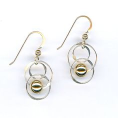 Earrings Gold Beaded Sterling Silver Circles by WvWorks on Etsy, $26.25