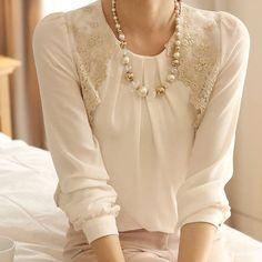 Blusa da moda feminina de chiffon manga longa blusa tops Gabinete de negócios casual solta camisa