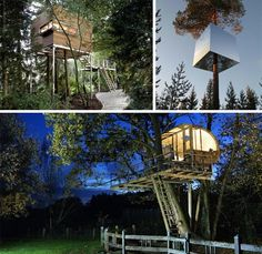 modern tree house designs and home designers and custom builders... These Tree Houses are MANSIONS!! awesome