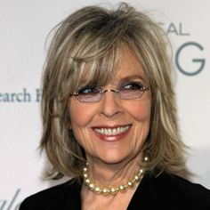 Diane Keaton    -  Colour  Yes, Diane Keaton has always been known for wearing her mid-length bob that looks fab with or without a hat, but she has adapted the cut for aging by point cutting layers into the shape.  This technique gives height as well as a messy flick that really says sexy can happen at every age. And, nice color Diane – letting the gray become one of the highlights.