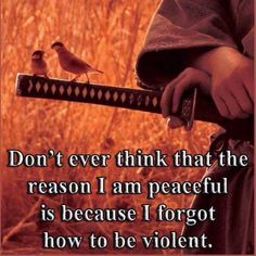 Don't ever think that the reason I am peaceful is because I forgot how to be violent.