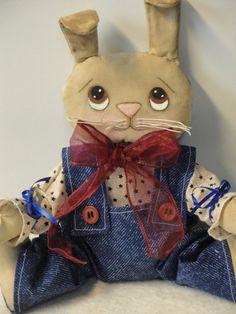 Primitive Bunny Rabbit Doll Hand Made by MorningMistDesigns, $25.00