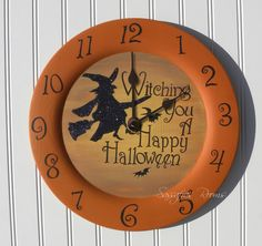Halloween Witching Your A Happy Halloween Wall Clock - Halloween Decoration - Halloween Witch. $40.00, via Etsy.