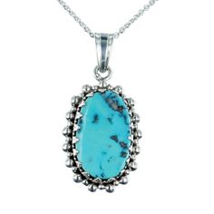 KINGMAN TURQUOISE PENDANT NECKLACE CROWN SETTING STERLING
