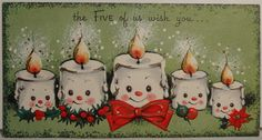 1950s Gibson Candles Vintage Christmas Card (this is what my mom used to send: from the 5 of us)