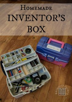 Great STEM gift for elementary-aged kids…Homemade Inventor's Box/Tinker Kit. Great STEM gift for elementary-aged kids… Woodworking For Kids, Woodworking Projects, Router Woodworking, Woodworking Furniture, Japanese Woodworking, Woodworking Patterns, Woodworking Techniques, Cnc Router, Science For Kids